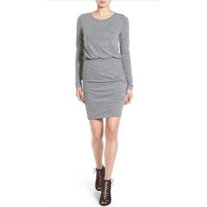 Leith Blouson Body-con Dress- Grey- Large-$62